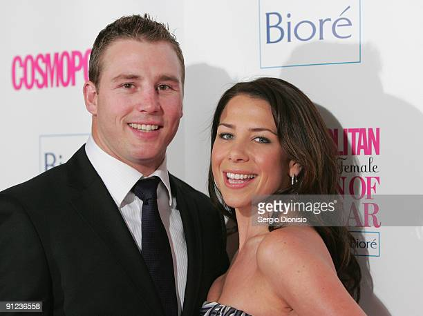 Actress and radio personality Kate Ritchie and her fiancee Stuart Webb arrive for the Cosmopolitan Fun Fearless Female Awards at the Art Gallery Of...
