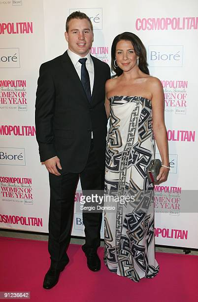 Actress and radio personality Kate Ritchie and her fiancee Stuart Webb arrive for the Cosmopolitan Fun, Fearless, Female Awards at the Art Gallery Of...