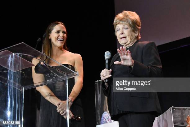 Actress and Save the Children Trustee Jennifer Garner and Hurricane Harvey Save the Children Beneficiary Joann Davis speak onstage during the 5th...