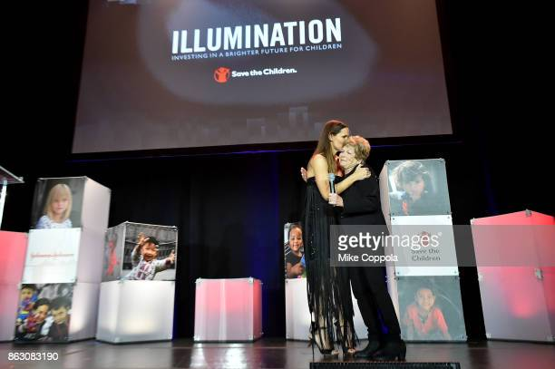 Actress and Save the Children Trustee Jennifer Garner and Hurricane Harvey Save the Children Beneficiary Joann Davis embrace onstage during the 5th...
