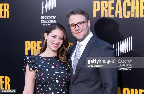 Actress and Screenwriter Lauren Miller and Executive Producer Seth Rogen arrive for the Premiere Of AMC's Preacher Season 2 at The Theatre at Ace...