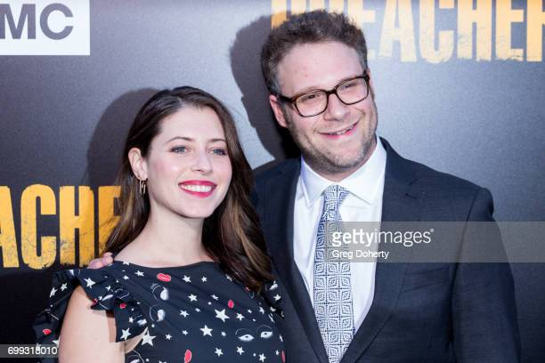 Actress and Screenwriter Lauren Miller and Executive Producer Seth Rogen arrive for the Premiere Of AMC's 'Preacher' Season 2 at The Theatre at Ace...