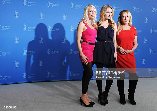Actress and scriptwriter Lorelei Lee actress Ashley Hinshaw and actress and producer Elana Krausz attend the Cherry Photocall during day eight of the...