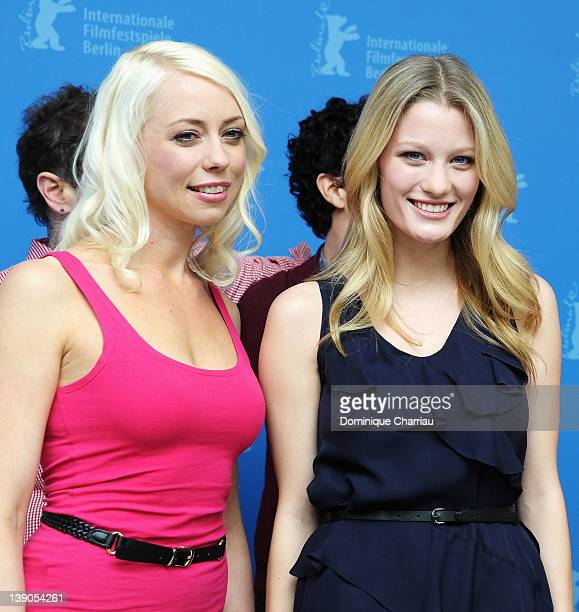 """Actress and scriptwriter Lorelei Lee and actress Ashley Hinshaw attend the """"Cherry"""" Photocall during day eight of the 62nd Berlin International Film..."""