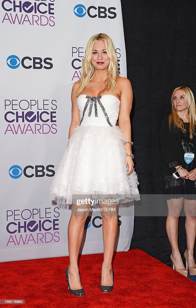 Actress and show host Kaley Cuoco poses in the press room at the 39th Annual People's Choice Awards at Nokia Theatre L.A. Live on January 9, 2013 in Los Angeles, California.