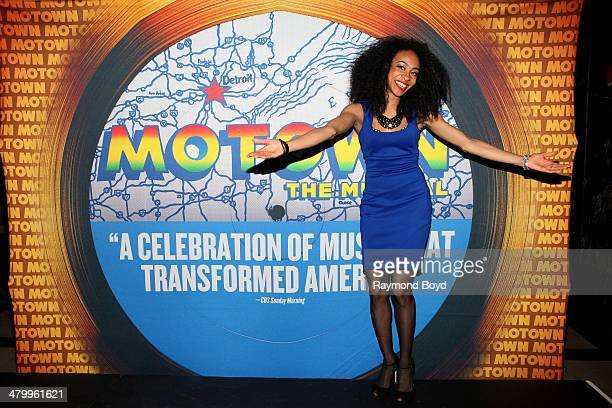 Actress and singer Allison Semmes poses for photos during a presentation of the national touring company of 'Motown The Musical' at the Oriental...