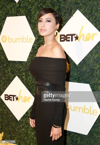 Actress and singer Andy Allo arrives at the BET Her Awards Presented By Bumble at Conga Room on June 21 2018 in Los Angeles California