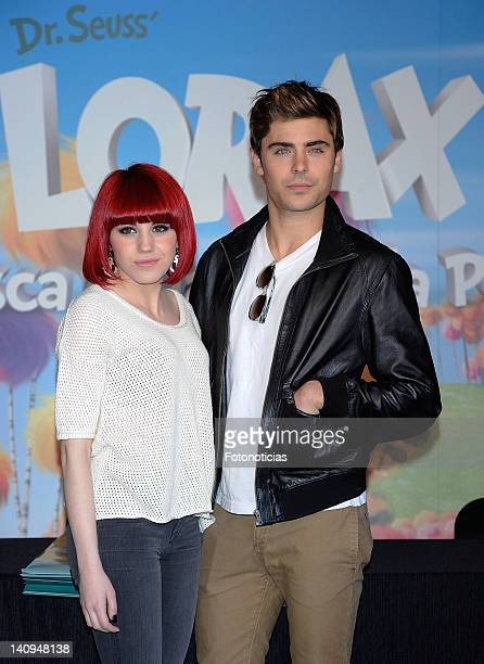 Actress and singer Angy and actor Zac Efron attend a meeting with fans to sign posters of 'Dr Seuss The Lorax' at El Corte Ingles Store on March 8...