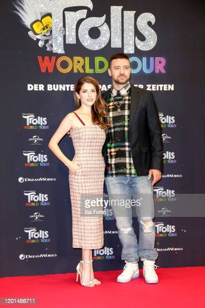 US actress and singer Anna Kendrick and US musician Justin Timberlake attend the photo call for Trolls World Tour at Waldorf Astoria on February 17...