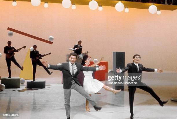 Actress and singer Annette Funicello perform with Frankie Avalon and Freddie Garrity and Freddie and The Dreamers on the NBC TV music show...