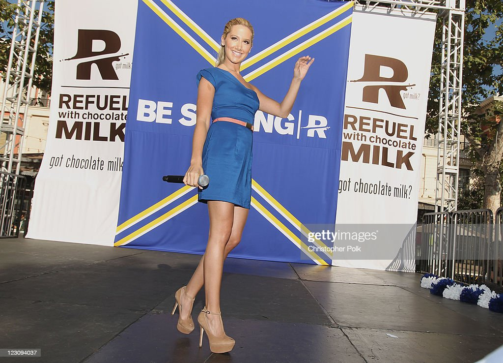 Actress and singer Ashley Tisdale speaks onstage during the 'Be Strong' Challenge with Ashley Tisdale held at The Grove on August 30, 2011 in Los Angeles, California.