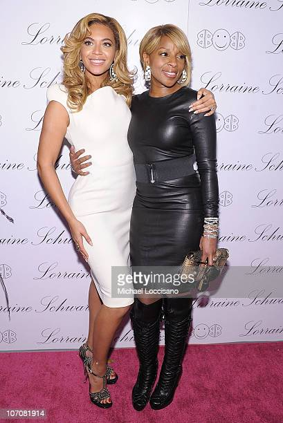 Actress and singer Beyonce Knowles and singer Mary J Blige attend the launch of Lorraine Schwartz's 2BHAPPY jewelry collection at Lavo NYC on...
