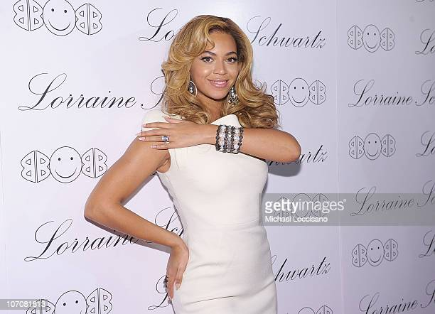 "Actress and singer Beyonce Knowles hosts the launch of Lorraine Schwartz's ""2BHAPPY"" jewelry collection at Lavo NYC on November 22, 2010 in New York..."