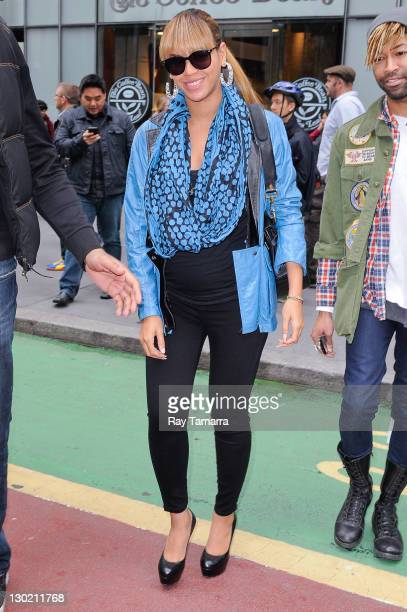 Actress and singer Beyonce Knowles leaves a Midtown Manhattan office building on October 24 2011 in New York City