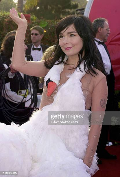 Actress and singer Bjork waves to the public attending the 73rd Annual Academy Awards at the Shrine Auditorium in Los Angeles Bjork's music 'I've...