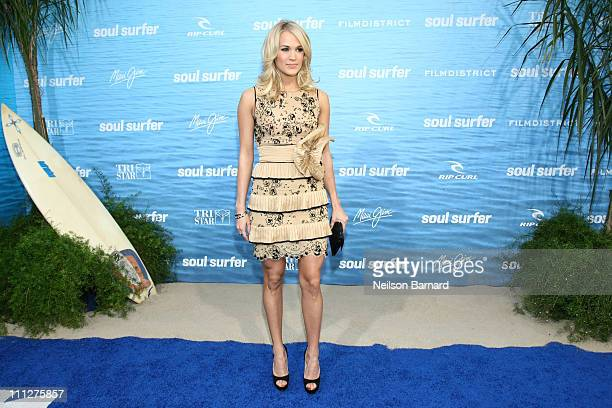 Actress and singer Carrie Underwood attends the premiere of TriStar Pictures' Soul Surfer at the Arclight Cinerama Dome on March 30 2011 in Hollywood...