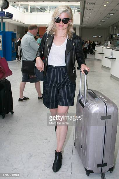 Actress and singer Cecile Cassel is seen at Nice airport during the 68th annual Cannes Film Festival on May 17 2015 in Cannes France