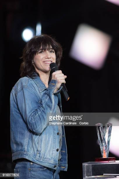 Actress and singer Charlotte Gainsbourg celebrates after receiving the Best Female Artist Award during the 33rd 'Les Victoires De La Musique' at La...
