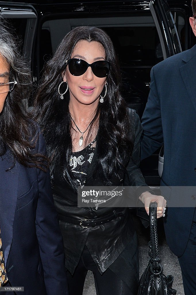 Actress and singer Cher enters the Z100 studios on June 28, 2013 in New York City.