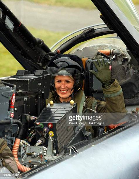 Actress and singer Claire Sweeney sits in a Tornado GR4 of No IX squadron from RAF Marham in Norfolk after flying to RAF Fairford in Gloucester to...