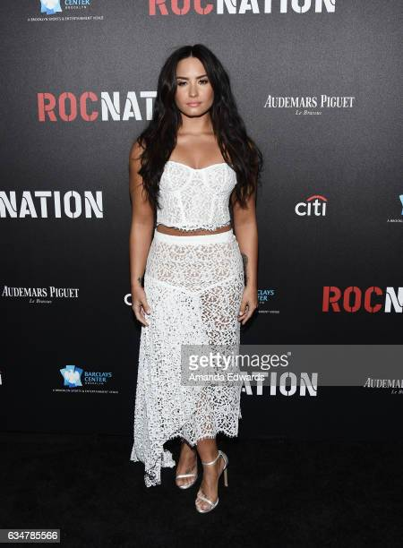 Actress and singer Demi Lovato arrives at Roc Nation's PreGRAMMY Brunch on February 11 2017 in Los Angeles California