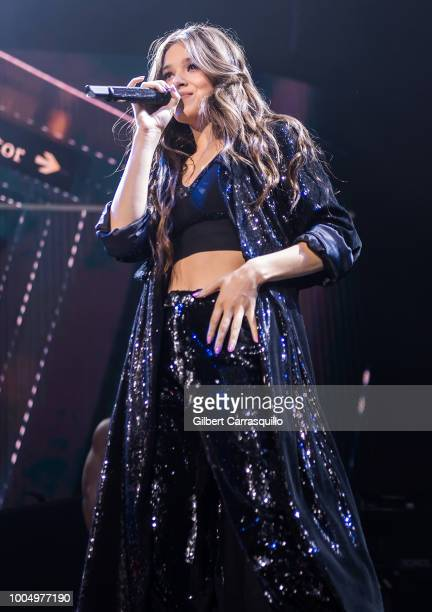 Actress and singer Hailee Steinfeld performs during the 2018 Honda Civic Tour presents Charlie Puth Voicenotes with special guest Hailee Steinfeld at...