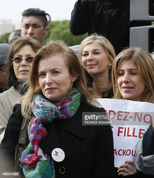 Actress and singer Jane Birkin former French first lady Valerie Trierweiler actress Michele Laroque and author Amanda Stehrs take part to a...