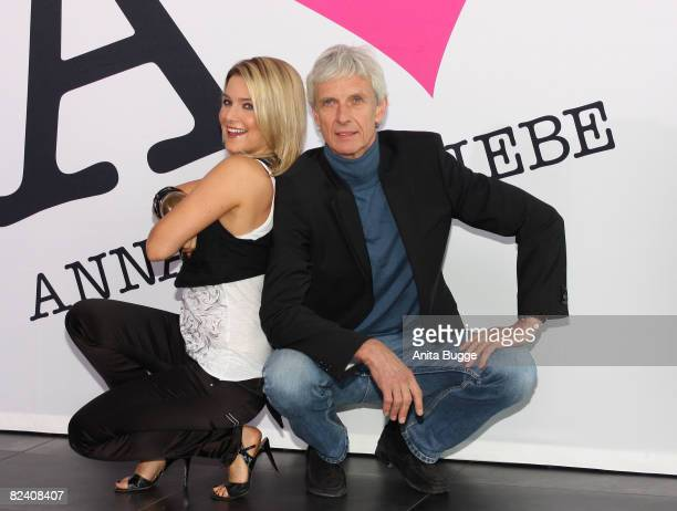 Actress and singer Jeanette Biedermann and actor Mathieu Carriere attend a photocall to the new German television SAT1 telenovela 'Anna und die...