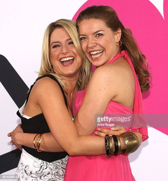 Actress and singer Jeanette Biedermann and actress Karolina Lodyga attend a photocall to the new German television SAT1 telenovela 'Anna und die...