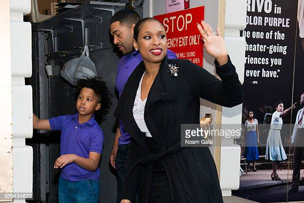 Actress and singer Jennifer Hudson David Otunga and David Otunga Jr exit the stage door of 'The Color Purple' at Bernard Jacobs Theater on May 8 2016...