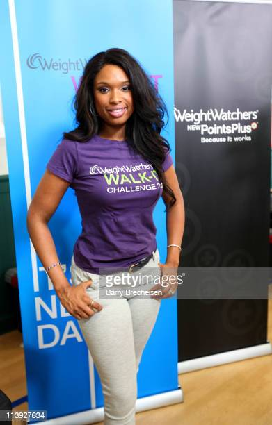 Actress and singer Jennifer Hudson poses during the Weight Watchers WalkIt Challenge at the Namaste Charter School with Jennifer Hudson on May 10...