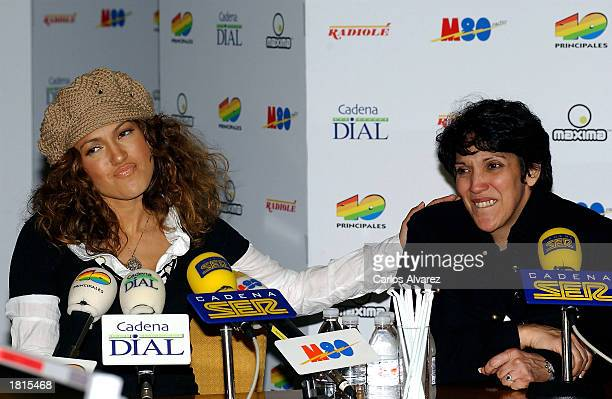 Actress and singer Jennifer Lopez and her mother attend an interview at the Cadena Ser radio station February 25 2003 in Madrid Spain