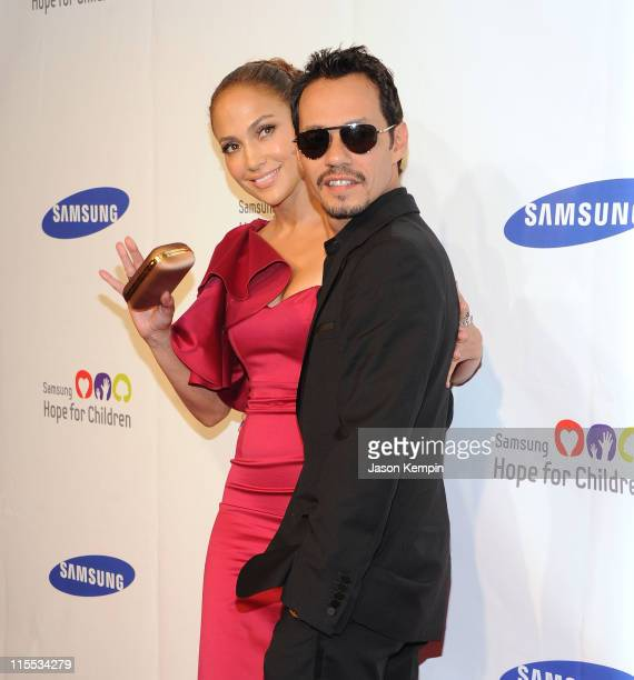 Actress and singer Jennifer Lopez and singer Marc Anthony attend the Samsung Hope for Children gala at Cipriani Wall Street on June 7 2011 in New...