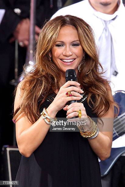 """Actress and Singer Jennifer Lopez performs at ABC's """"Good Morning America"""" show in Times Square in New York City on October 9, 2007."""