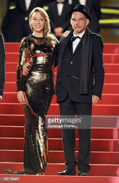Actress and singer Kylie Minogue and actor Denis Lavant attend the Holy Motors Premiere during the 65th Annual Cannes Film Festival at Palais des...