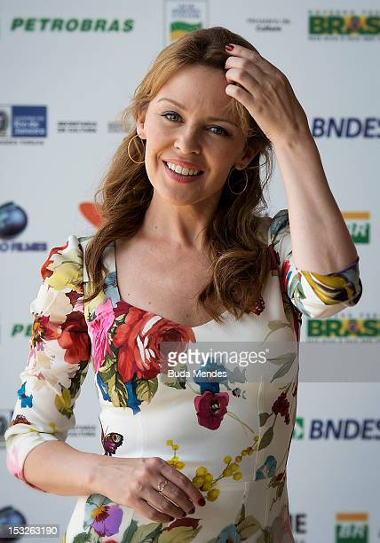 Actress and singer Kylie Minogue during the presentation of 'Holy Motors' at Rio de Janeiro Film Festival at Armazem Utopia on October 02 2012 in Rio...