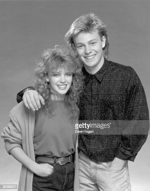 Actress and singer Kylie Minogue with her costar in the Australian soapopera 'Neighbours' Jason Donovan circa 1987