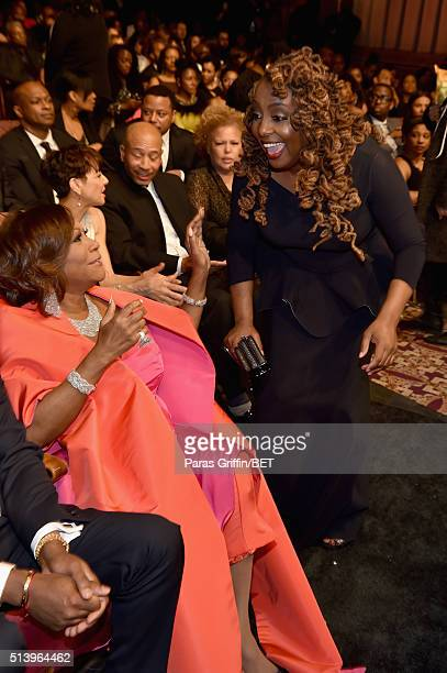 Actress and singer Ledisi greets honoree Patti LeBelle at the BET Honors 2016 Show at Warner Theatre on March 5 2016 in Washington DC