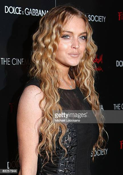 Actress and singer Lindsay Lohan attends a screening of Filth and Wisdom hosted by The Cinema Society and Dolce and Gabbana at the IFC Center on...