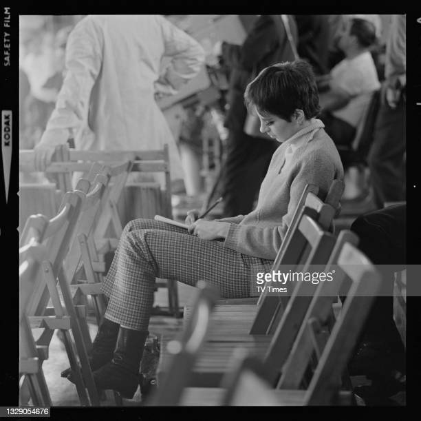 Actress and singer Liza Minnelli making notes before an appearance on musical variety programme the Hippodrome Show, circa 1966.