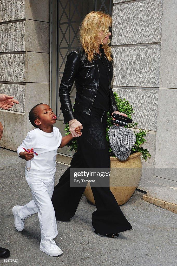 Actress and singer Madonna and her son David Banda visit the Kabbalah Center on May 09, 2009 in New York City.