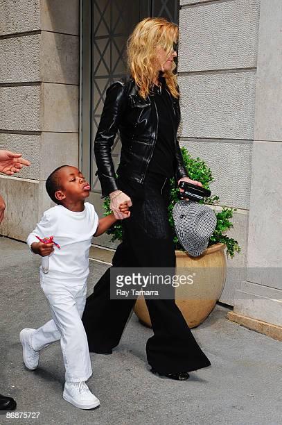Actress and singer Madonna and her son David Banda visit the Kabbalah Center on May 09 2009 in New York City