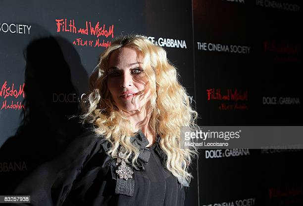 Actress and singer Madonna attends a screening of Filth and Wisdom hosted by The Cinema Society and Dolce and Gabbana at the IFC Center on October 13...