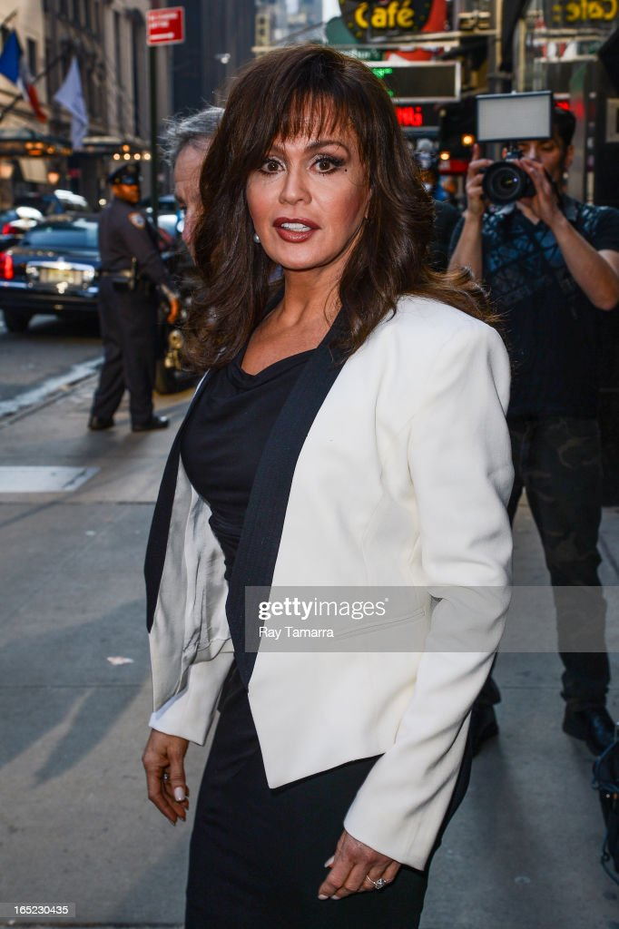 Actress and singer Marie Osmond leaves the 'Good Morning America' taping at the ABC Times Square Studios on April 1, 2013 in New York City.