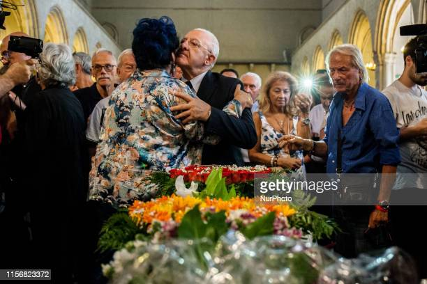 Actress and singer Marisa Laurito and President of Campania Region Vincenzo De Luca during the funeral of Italian writer Luciano De Crescenzo in...
