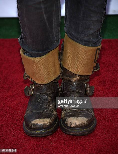 Actress and singer Melissa Mars shoe detail attends the Champagne brunch reception honoring the French nominees for The 88th Academy Awards at La...