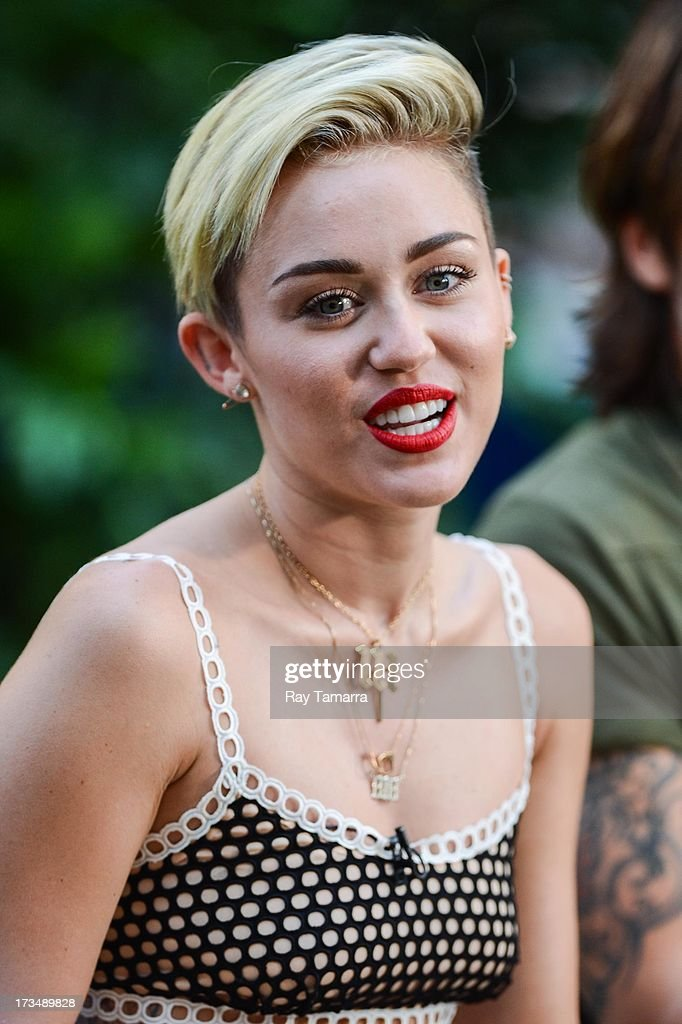 Actress and singer Miley Cyrus tapes an interview at 'Good Morning America' at the ABC Times Square Studios on July 15, 2013 in New York City.