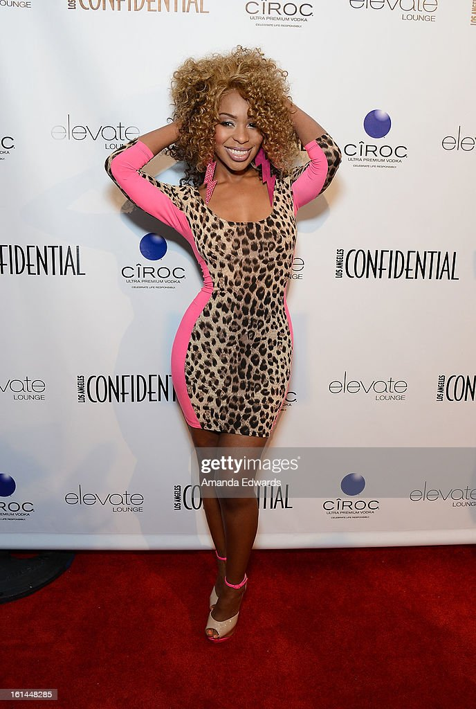Actress and singer Porscha Coleman arrives at the Los Angeles Confidential and Harmony Project GRAMMY after party honoring Mary J. Blige at Elevate Lounge on February 10, 2013 in Los Angeles, California.