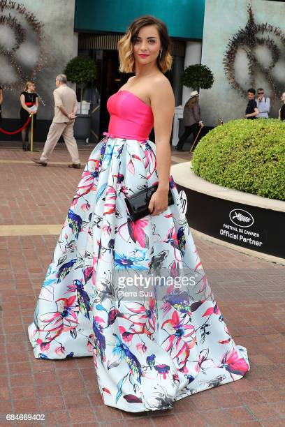 Actress and singer Priscilla Betti is spotted arriving at the 'Majestic' hotel during the 70th annual Cannes Film Festival at on May 18 2017 in...