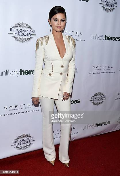 Actress and singer Selena Gomez arrives at the 3rd Annual Unlikely Heroes Awards Dinner and Gala at the Sofitel Hotel on November 8 2014 in Los...